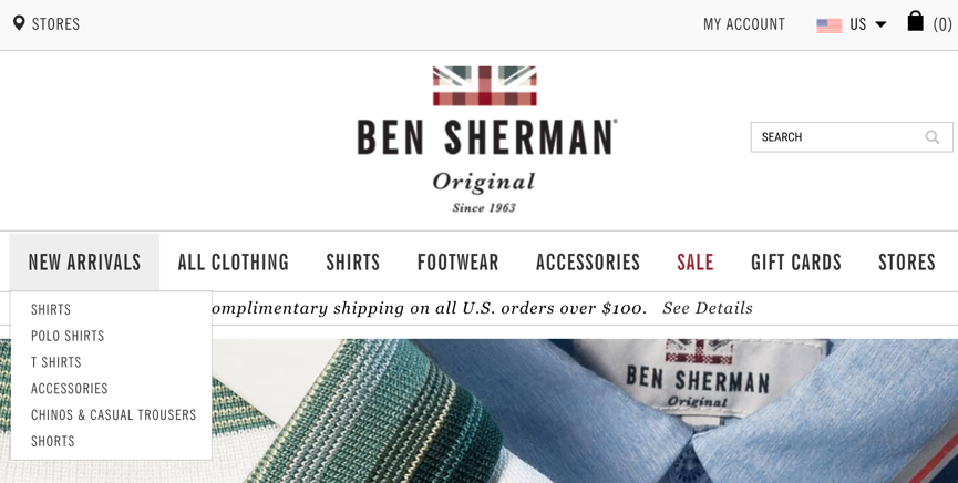 Ben Sherman下拉菜单设计